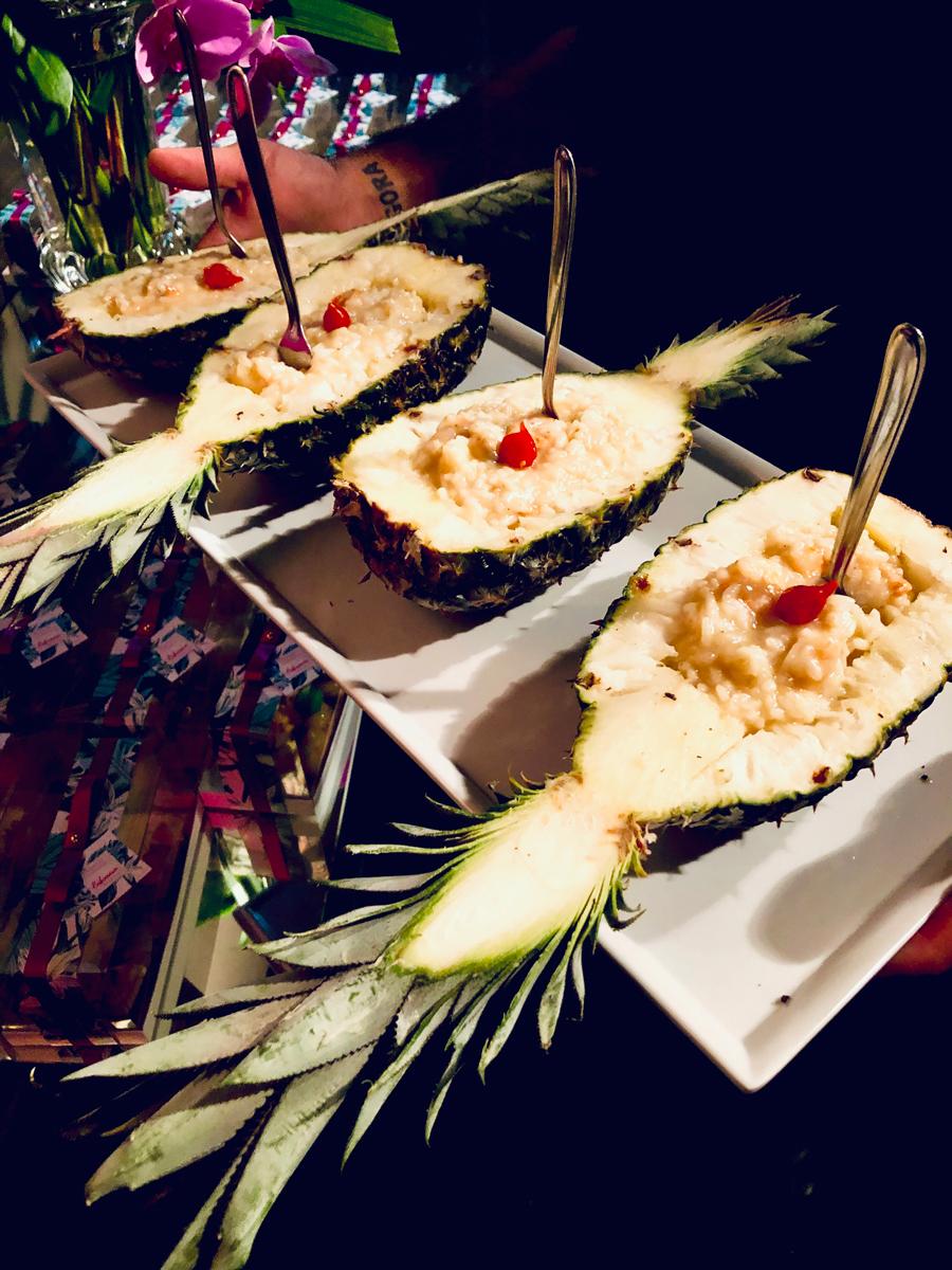 Risoto tailandês de camarão